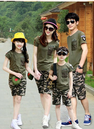 Wholesale U S Army Parentage Clothes Family Sets Lovers Clothes Short Sleeves Sport Suits Two Pieces Sets Camouflage Field equipment Top Quality
