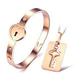 Wholesale 2015 New Titanium steel necklace bracelet jewelry sets rose gold Key lock love couple bracelet necklace sets birthday present