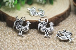 Wholesale 25pcs Rooster Charms Antique Tibetan silver Lovely Chicken Charm Pendant x17mm