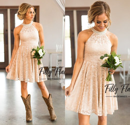 Nude Lace Bridesmaid Dresses 2018 Country Knee Length With Pearls Jewel Neck Zipper Back Western Maid of Honor Dresses Custom Made Plus Size