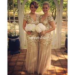 Sparkly Gold Sequin Long Bridesmaid Dresses Mermaid V Neck with Short Sleeve 2019 Vintage Formal Evening Gowns Plus Size Maid of Honor Dress