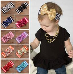 2016 New Fashion girls Bow headbands baby sequins bowknot headband girls Striped cotton headbands Handmade baby headbands