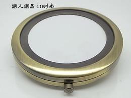 Wholesale 20pcs Bronze Blank DIY Compact Mirror Wedding Gift Portable Metal cosmetic mirror Copper_