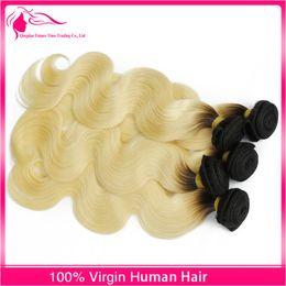 Brazilian 1B 613 Ombre Body Wave 3 Bundles 613 Dark Root Ombre Hair Weave Ombre Two Tone Body Wave Hair 3 Pcs