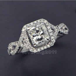 size 5-10 wholesale princess Engagement jewelry white topaz 925 sterling silver filled Wedding Diamonique simulated Diamond Ring set gift