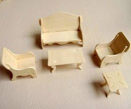 Wholesale-Furniture Sofa Model DIY Miniature 3D Puzle Wooden Building Toy