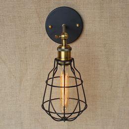 Vintage Iron Metal Small Cages Wall Lamp High-Quality Creative Garden Loft Lighting Edison light bulb fixtures