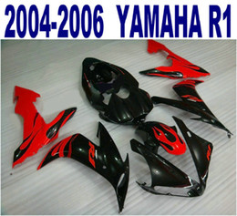 Injection molding ABS full fairing kit for YAMAHA 2004-2006 YZF R1 red black motorcycle parts yzf-r1 04 05 06 fairings set PQ66