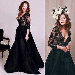Wholesale 2016 Black Prom Dresses Sleeves Deep V neck A line Tulle And Lace Illusion Full Length Evening Party Gowns Online Store Country Style China