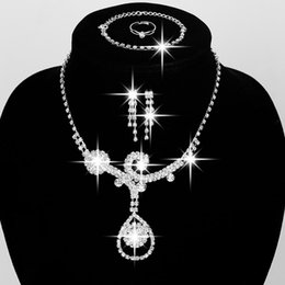 Wholesale 5PCS Rhinestone Sliver Plated Jewelry Set Necklace Four Pieces Wedding Beauty Bridal Jewelry For Valentine s Day Gift