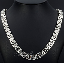 Fashion New Bohemian Style Jewelry 8mm 24'' Silver Stainless Steel flat byzantine Curb Link Necklace Chain for Friends holiday Gifts on sale