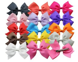 2016 fashion 3 inch children baby ribbon bows with hair clips Baby Boutique bows hair grips headwear girl hair accessories 150pcs