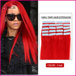 Cheap 16-24inches Tape Human Hair Extensions Brazilian Virgin Hair Straight Skin Hair Weft 20pcs Lot #Red