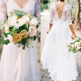 Sexy Illusion Wedding Dresses A Line V Neck See Through Half Sleeves Lace Appliques Floor Length Chiffon Bridal Gowns Garden Party