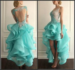 Wholesale 2016 Vestido High Low Backless Prom Dresses Lace Applique Organza Tiered V neck Special Occasion Party Gowns BO8345