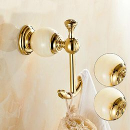 Wholesale And Retail Marble Style Hangers Golden Brass Bathroom Hooks Dual Robe Hangers Towel Pegs