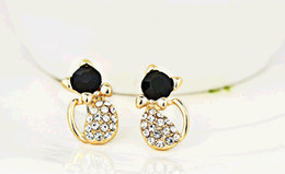 New Fashion Cute Lovely Bow Small Cat Stud Earrings Ffor Women Crystal Rhinestone Animal Earrings Wholesale 12 Pairs