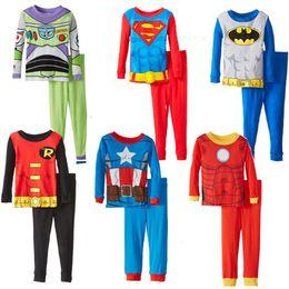 Toddler Cartoon Superman Batman Pajamas Baby Spring Fall Cotton Sleepwear Children Long Sleeve Household to Take Baby Boy Top+Pants sets