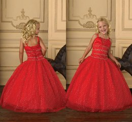 Red Ball Gown Puffy Flower Girl Dresses 2015 Spaghetti Backless Sweep Train Beading Custom Made Pageant Girl Dresses Wedding Party Wear