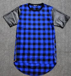 Tyga Red Blue Plaid Golden Zip Men women hip hop swag extended Lengthen Leather T-shirt Oversized Men T Shirt Cool Tee