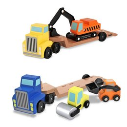 Wholesale Toy Vehicle Truck Cars Loader Trailer Excavator Playsets Kids Wooden Classic Model Toys