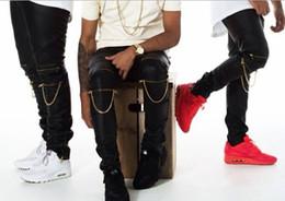 Wholesale-Hip hop mens faux skinny leather pants zipper design sweatpants gold chain joggers Men motorcycle casual black jogging Z0005