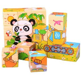 Wholesale-New Funny Cute Wooden Animals 3D Blocks Jigsaw Early Educational Baby Developmental Toy