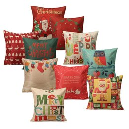 Wholesale-Christmas Series Pillow Cover Xmas Ambience Decorative Square Pillow Case Cartoon Santa Elk Alphabet Owl Home Bed Supplies