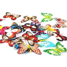 Wholesale 3 sets Cute cm D Artificial Butterfly Luminous Fridge Magnet for Home Christmas Wedding Decoration freeshipping H9720