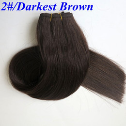 Top Quality Brazilian hair wefts human hair weaves 100g 20inch #2 Darkest Brown no shedding Indian Straight hair extenisons
