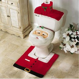 Wholesale 1 Set Santa Toilet Seat Cover and Rug Bathroom Set Christmas Decoration