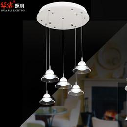 Wholesale LED Pendant light modern aluminium simple glass chandeliers creative white light acrylic straight plate circular bar lamps dining room v