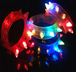 Wholesale Light Up Bracelets Free Shipping - Party Glowing Bracelet LED Lights Flash Wrist Multicolor Light Up Hand Ring with Battery for Night Party Toy free fast shipping 23cm