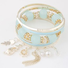 Fashion Bijoux Bracelets Bangles Multi layer Gold Bangles Imitational Pearl Enamel Bracelets For Women Jewelry Bracelet Femme