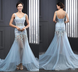 2016 See Through Mermaid Prom Dresses Sky Blue With Lace Party Evening Wear Dresses Tulle Long V-Neck Cheap Sexy Backless Pageant Gowns