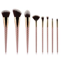Mybasy 8pcs set Thread Makeup Brush Set Nylon Hair Spiral Eyebrow Eye shadow Powder brush Rose Golden Cosmetic Brush Tools