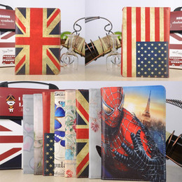 Wholesale Magnetic Rotating Heart Flower Butterfly Rose USA UK Flag Flip PU Leather Smart Cover Case With Stand For iPad Mini Mini4 inch