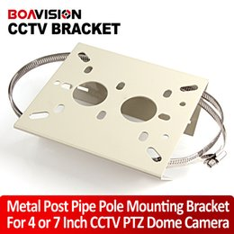 Wholesale Surveillance Universal Pole Mounting Bracket Arm Base For CCTV Security IP PTZ Dome Camera Bracket With Ring For Pipe LamPost Mount