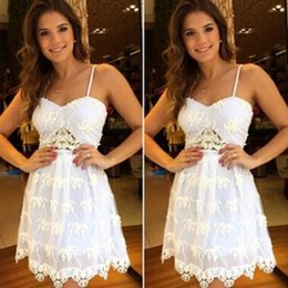 Wholesale 2015 new sexy white lace flowers showing belly buttons backless strap volie beach dress causal dress plus size