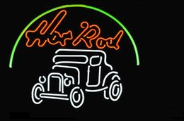 Wholesale HOT ROD CAR AUTO DEALER REAL GLASS TUBE NEON BEER BAR WALL SIGN GAMEROOM CLUB GARAGE