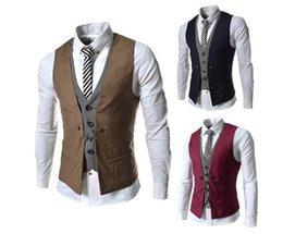 Wholesale men vest suit mens sleeveless jacket Hot New Men s plaid spell color Slim casual vests