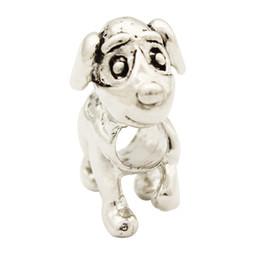 Wholesale and Retail Rhdodium Plating Animal Dog European Charm Spacer Metal Bead Fit Pandora Charm Bracelet
