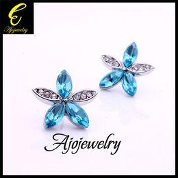 Wholesale Sending Earring Boxes - FG Free shipping 2014 high quality Austrian crystal flower stud earrings for girls (send gift box)