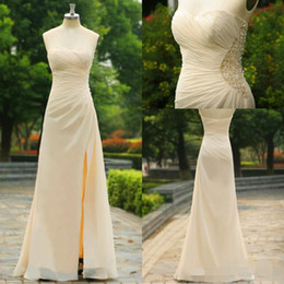 2015 Beige Strapless Sexy Bridesmaid Dresses Crystal Beads Glitz Sheer Chiffon Formal Sheath Side Slit Formal Evening Prom Gowns