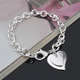 2015 New Design 925 sterling silver plated double heart Pendant Bracelet Fashion Jewelry Pretty cute Valentine's Day gift Free shipping