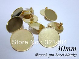 Wholesale Cameos Bulk - Bulk 200piece lot 30mm cameo setting gold plated metal safety pin brooch bezel blanks, brooch base