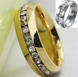 HOT Factory Direct Sales Fashion Stainless Steel Jewelry Crystal Rings For Men Silver and Gold Colors Top Quality Mens Rings 10pcs lot