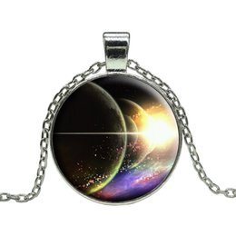 Free shipping Vintage Outer Space Universe Starry sky silver statement Chain pendant necklace art glass gemstone necklace