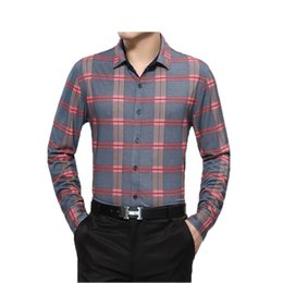 Wholesale-New 2015 autumn and winter The middle-aged man long sleeved shirt Lapel shirt fashion Plaid shirt men 2 colors 80
