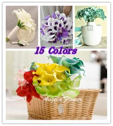 300PCS lot Best Sale Real Touch Artificial Flower silk flower Romantic Wedding Party Calla Lily flower bouquet For Home Decorition